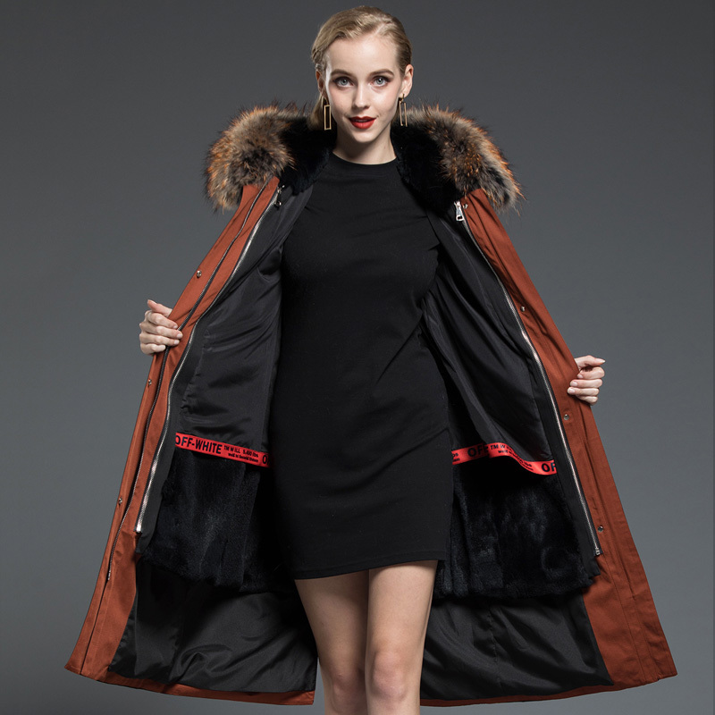 Rabbit Natural Fur Liner Parka Women Clothes 2020 Winter Jacket Women Raccoon Fur Collar Long Trench Coat Female MY3590
