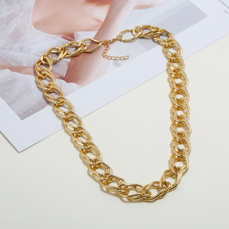 Punk Heavy Metal Big Thick Chain Choker Necklace For Women Men Hip Hop Night Club Sexy Clavicle Chain Jewelry Female Collier in Chain Necklaces from Jewelry Accessories