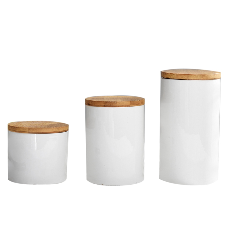 Food Storage Jar,Ceramic Jar with Airtight Seal Bamboo Lid Modern Design White Ceramic Canister for