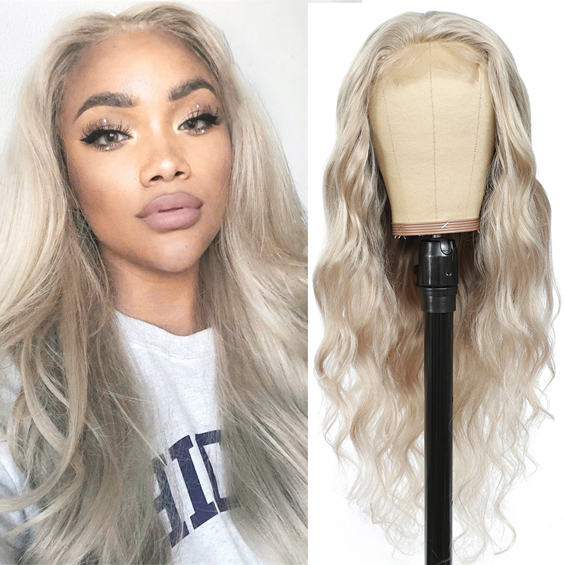 Closure Wig Human-Hair-Wigs Lace Body-Wave Gray Grey Silver Pre-Plucked Brazilian 4X4