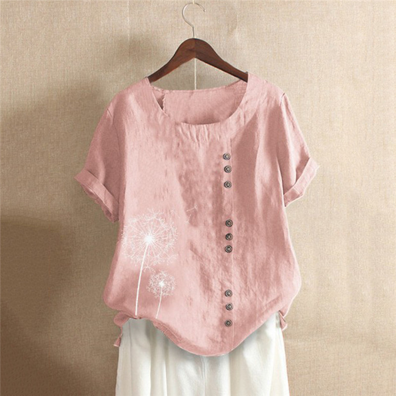Casual Loose Tops Women's Blouses Summer New Leisure Blouse Solid Color Round Neck Short Sleeve Shirts Top Tees Plus Size