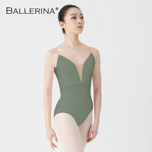 Image 3 - Justaucorps de ballet femmes aerialiste pratique danse Costume V profond fronde noir gymnastique justaucorps Adulto ballerine 5039