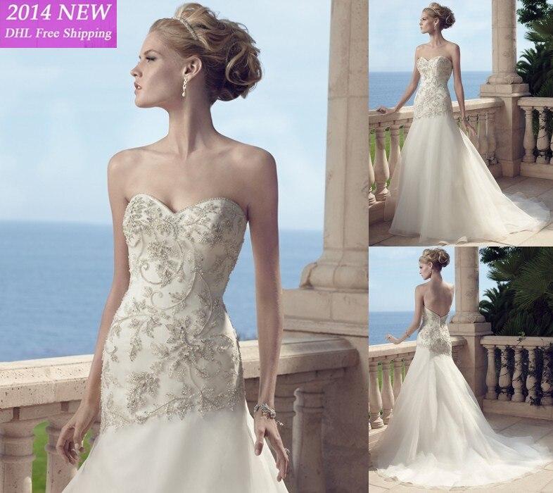 Designer 2019 A- Querida Linha Com Beading Apliques Chiffon Branco/marfim Vestidos De Casamento Vestidos De Noiva Wedding Dress