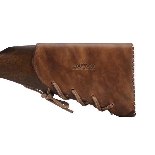 Tourbon Hunting Gun Butt Stock Cheek Rest Genuine Leather 12 Gauge Ammo Shells Sleeve Cartridges Holder Shooting Gun Accessory 2