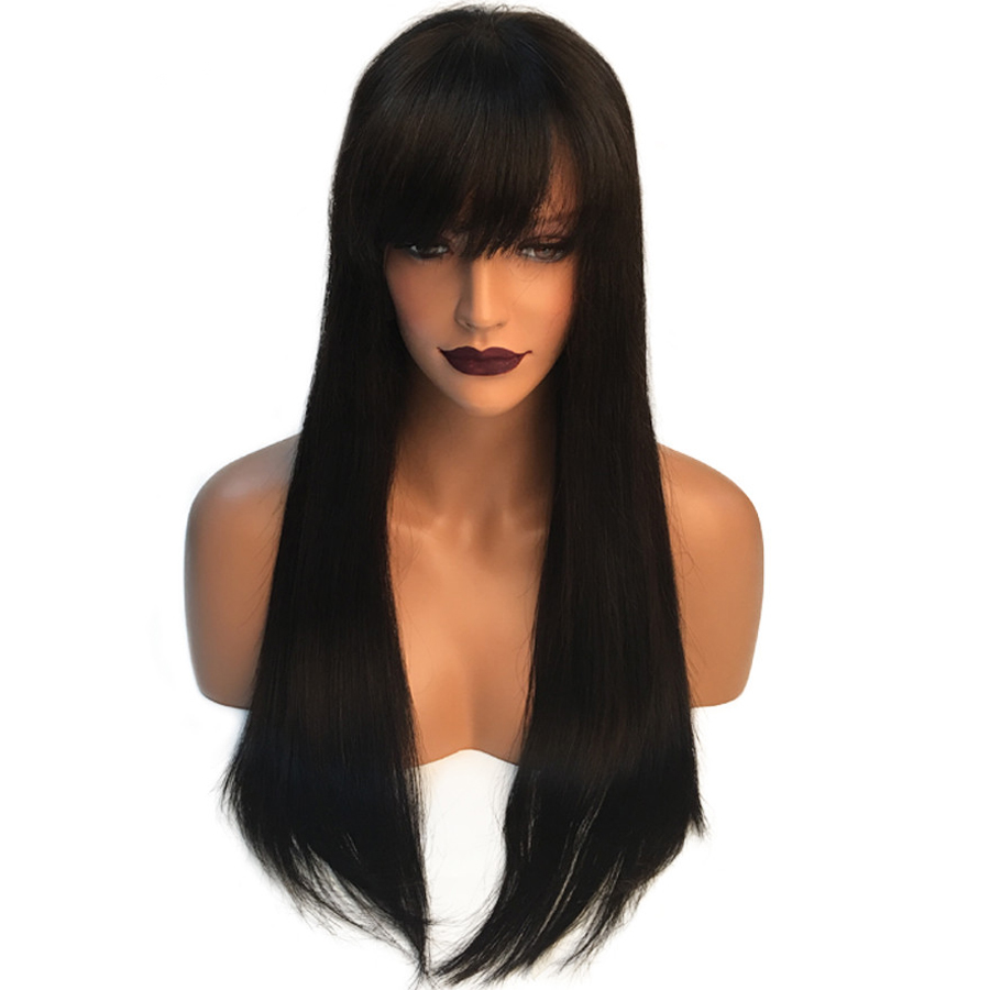 SHUMEIDA 13*3 Lace Front Human Hair Wigs With Bangs Straight Brazilian Lace Front Wigs Remy Lace Wigs For Black Women Swiss Lace
