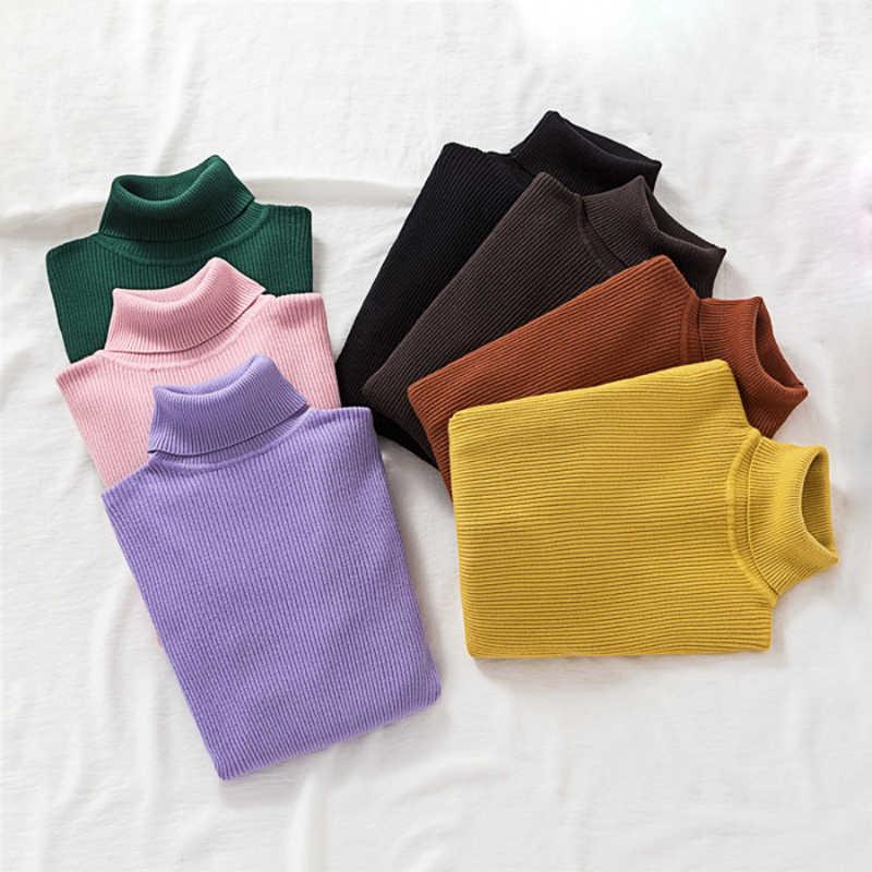 Zoki Pullover Frauen Rollkragen Pullover Mode Frühjahr Langarm Weibliche Jumper Herbst Koreanische Grundlegende Top Weiche Strick Pullover
