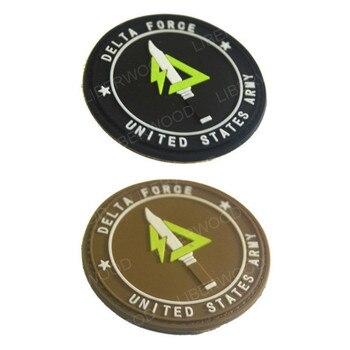 Parches DIY de la Fuerza Delta para ropa, insignia de PVC 3D de la fuerza especial del Ejército de los Estados Unidos, brazalete bordado Militar, gancho para Parche Militar