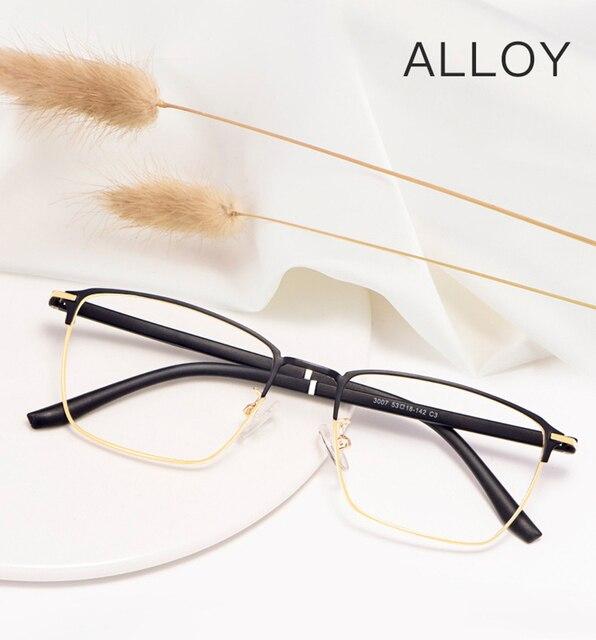 אופנה עסקים לגברים ונשים משקפיים סגסוגת מתכת מסגרת משקפיים עם מתכון מרשם Opticals