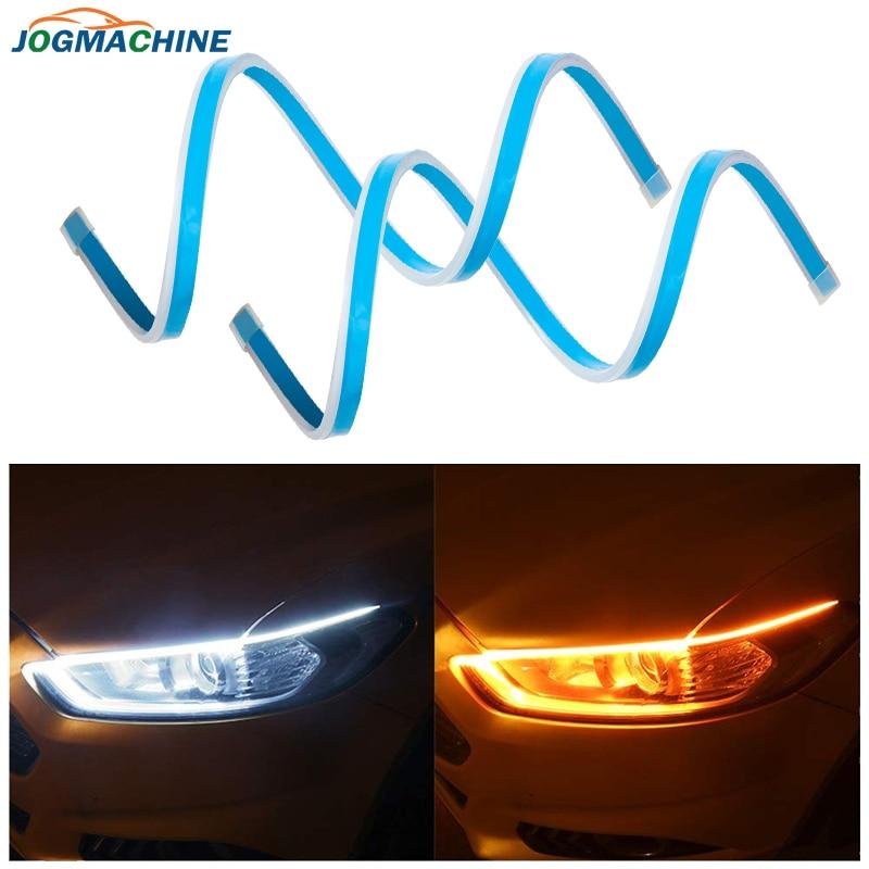 2 pçs ultrafine led drl 30 45 60 70cm luz de circulação diurna carro flexível tira led branco sinal volta amarelo à prova dwaterproof água