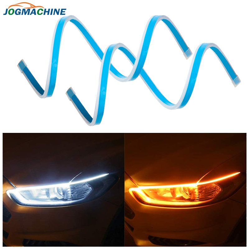 2Pcs Ultrafine LED DRL 30 45 60 70cm Daytime Running Light Flexible Car LED Strip White Turn Signal Yellow Waterproof