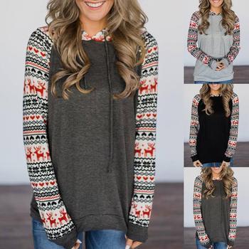 Christmas Women Deer Print Patchwork Long Sleeve Hooded Blouse Sweatshirt Hoodie Outwear Coats Female Pullover Sweatshirt