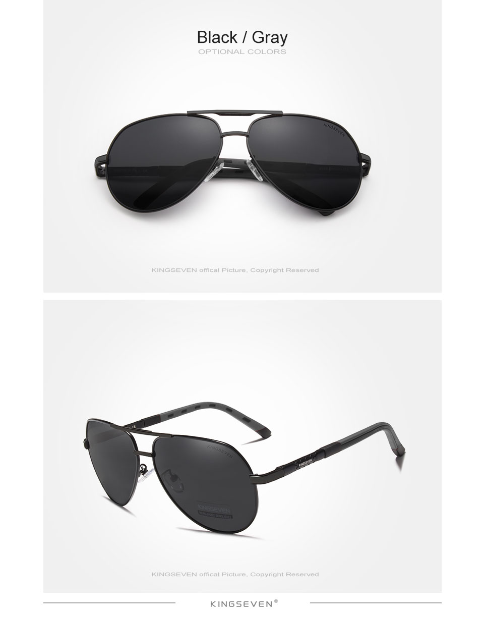Hc594bd6f2a4641f6921b0bf87eb938b3c - KINGSEVEN Men Vintage Aluminum Polarized Sunglasses Classic Brand Sun glasses Coating Lens Driving Eyewear For Men/Women