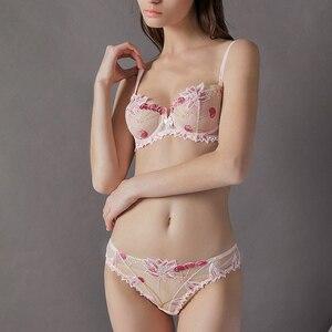 Image 5 - 女性の下着ピンクのブラとパンティーセット透明ブラセットランジェリーかわいい桜刺繍下着女性ブラジャー裏地なし
