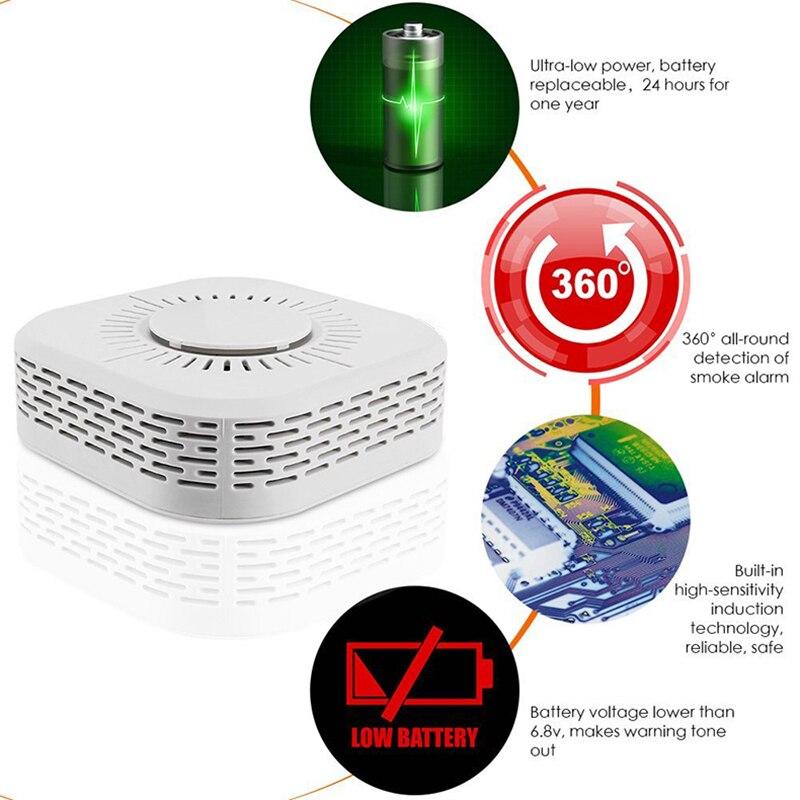 3 pces detector de fumaça sem fio