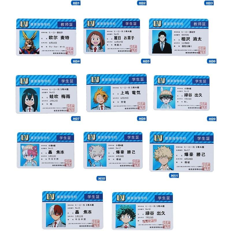 New Fashion Anime Peripheral My Hero Academia PVC Student ID Card School Food Card