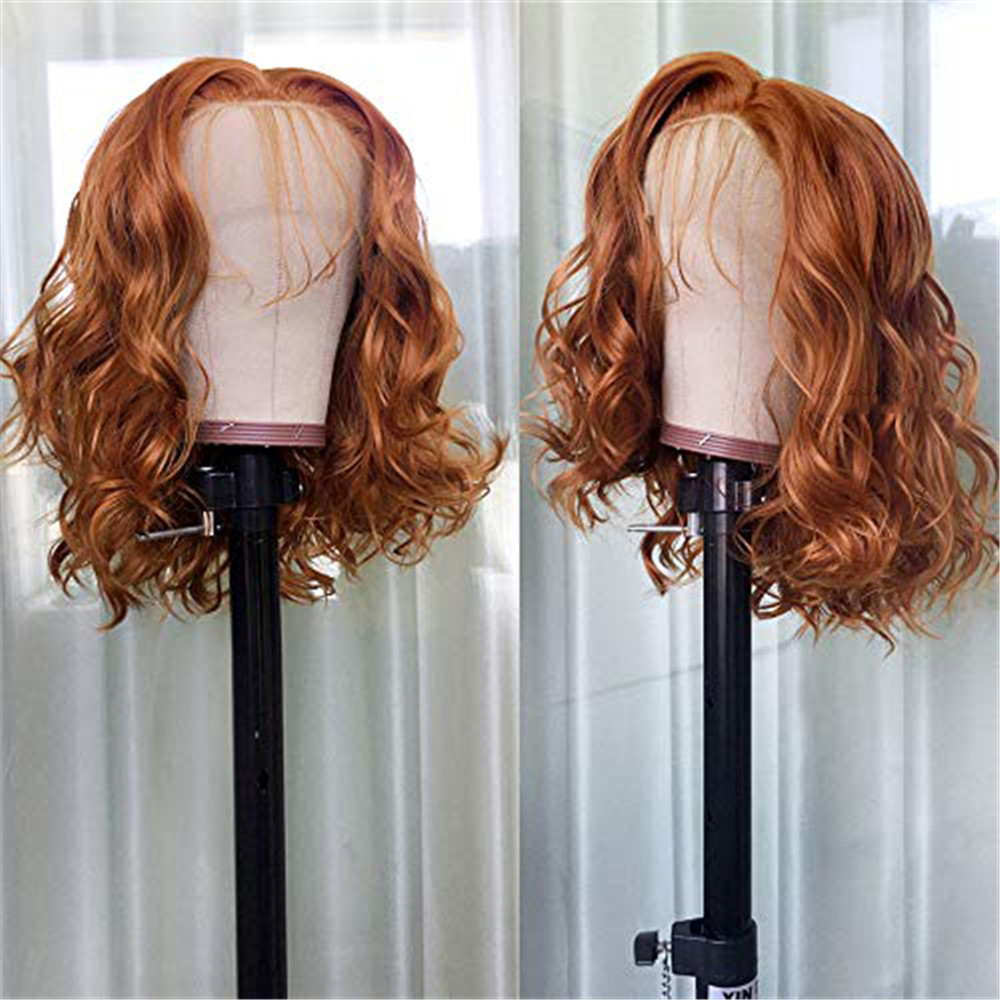 BYMC Full Lace Human Hair Wigs Ginger Orange Brown Natural Wave Brazilian Remy Hair Bleached Knots Glueless Wig With Baby Hair