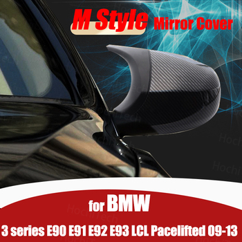 2p High Quality Carbon Fiber Pattern Car Styling Replacement M3 Style Rearview Mirror Cover for BMW E90 E91 E92 E93 LCI image