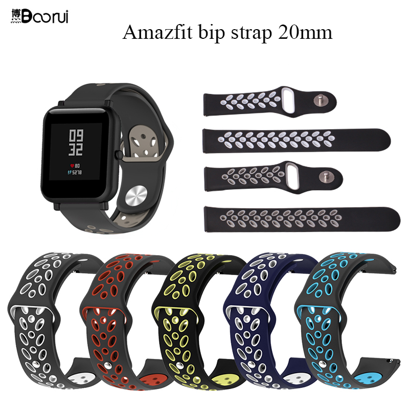 BOORUI Amazfit Bip Strap 20mm Silicone Strap Breathable Sports Belt For Xiaomi Amazfit Bip Youth /Huawei Watch2 / Watch2 Pro