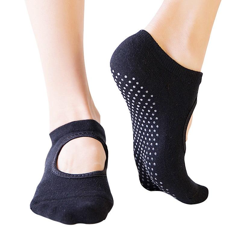 New High Quality Women Cotton Backless Yoga Socks Women Non-slip Breathable Ladies Sport Yoga Ballet Dance Sock Slippers