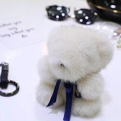 Cute Q version mink fur bear doll pendant genuine leather grass bear bag pendant key chain