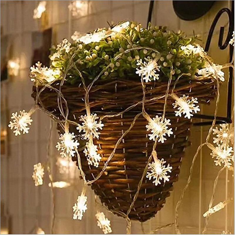 LED Snowflake String Lights Wedding New Year Christmas Tree Holiday Decoration Lights Flashing Lights String
