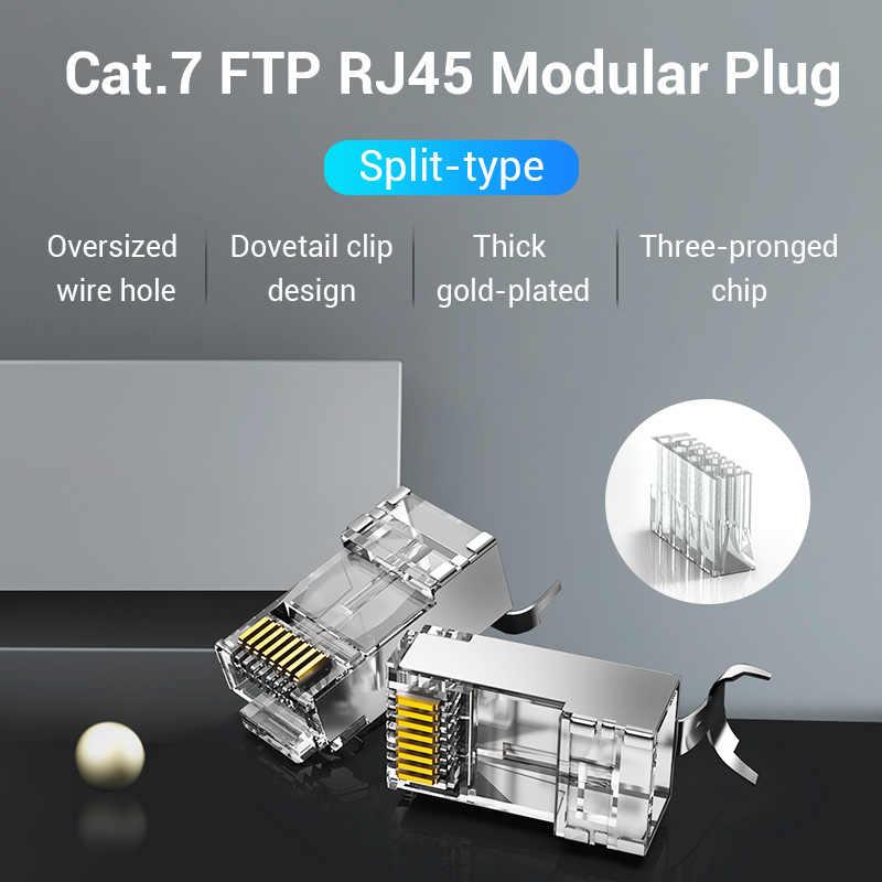 Chính Hãng Vention Cat7 RJ45 Cổng Kết Nối Cat7/6/5e STP 8P8C Mô Đun Cáp Ethernet Đầu Cắm Mạ Vàng Cho đầu Mạng RJ 45 Crimper Đầu Kết Nối