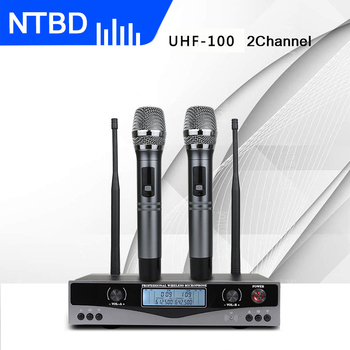 NTBD Stage Performance Hip Hop Home KTV Party UHF-100 Professional Dual Wireless Microphone System Dynamic 2 Channel 2 Handheld