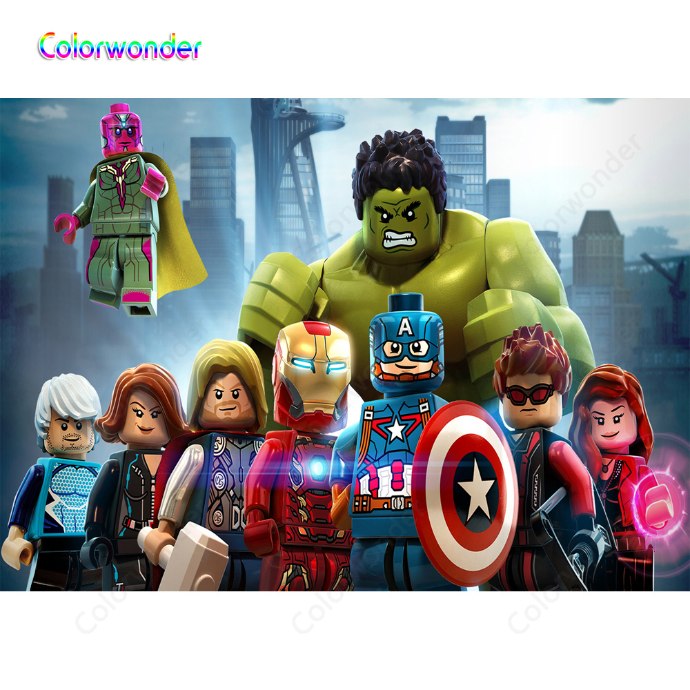 Lego Series KIds Birthday Party Backdrops for Photography Superhero Iron-Man Captain America with Other Avengers Modern City image