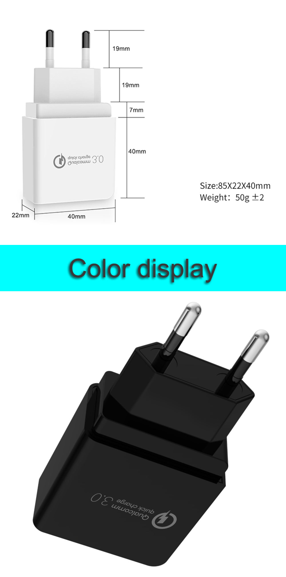 Quick Charge 3.0 18W USB Wall Charger Adapter Smart IC for Samsung S10 S9 Note 9 8 Xiaomi LG HTC Mobile Phone QC3.0 Fast Charger (6)