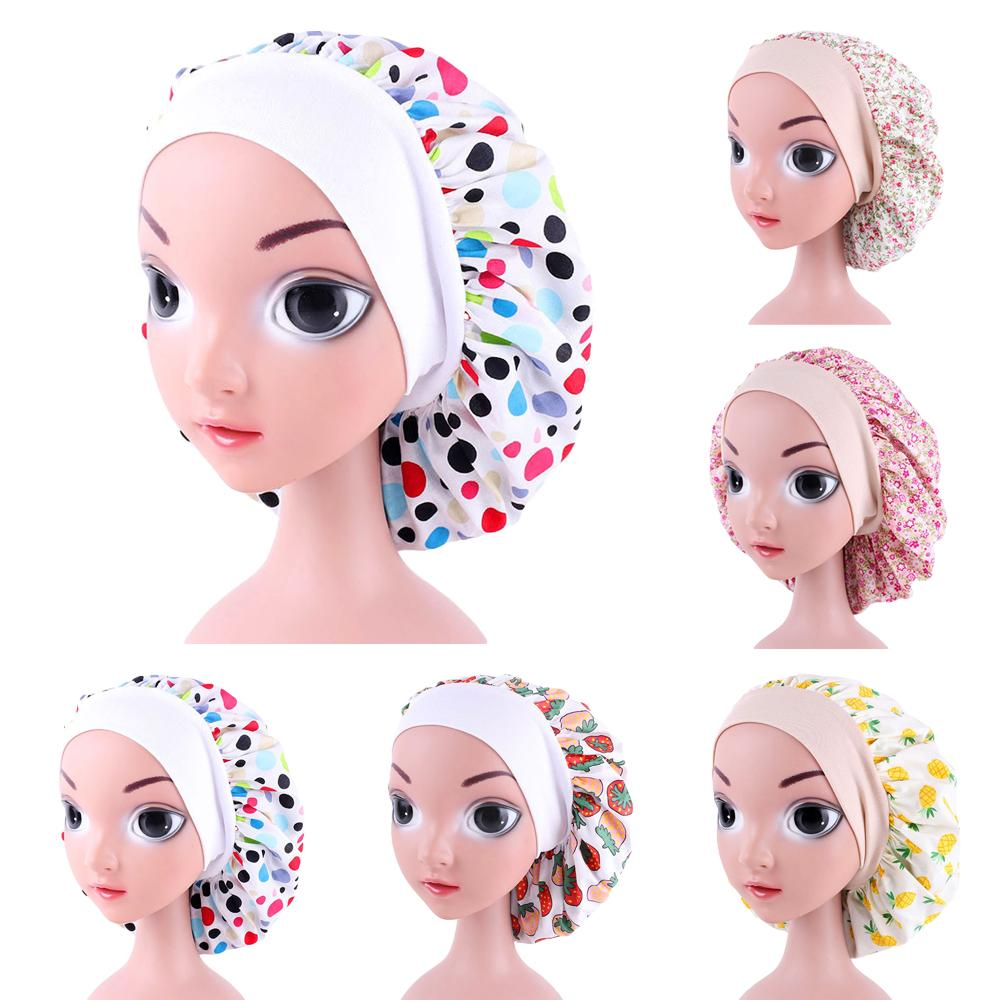 Kids Girl Cotton Night Sleep Cap Hair Care Bonnet Hat Head Cover Wrap Elastic Printed Wide Band Beanies Skullies Hair Loss Cap