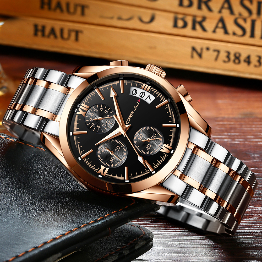 Top CRRJU Men Watches Brand Fashion Business Luxury Quartz Mens Watch Waterproof Sports Men's Wristwatch Clock Relogio Masculino