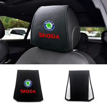 Coussin en mousse et coton pour appui-tête de voiture, tissu doux pour Skoda Octavia Fabia Rapid Superb Octavia a5 a7 2, 1/2 pièces