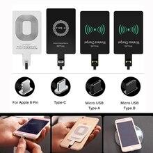 Dla iPhone 5 5S SE 6 6S 6Plus 7 Plus Android type c Adapter Qi bezprzewodowa ładowarka indukcyjna łatka ładowania cewki odbiornik ładowarka