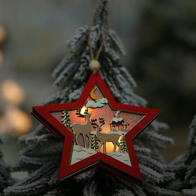 Creative Led Light Christmas Tree Hanging Pendant Star Car Heart Wooden Ornament Decoration Shine Romantic New Year Ornaments 16
