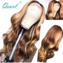 Peluca con malla frontal de pelo humano Marrón con rubio miel destaca las pelucas de 13x 4/13x6 ondas corporales para mujeres pelo Remy parte media qpearl