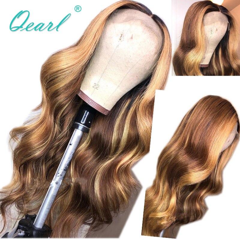 Perruque avant en dentelle de cheveux humains marron avec des reflets blonds miel 13x4/13x6 perruques de vague de corps pour les femmes Remy cheveux partie moyenne Qearl
