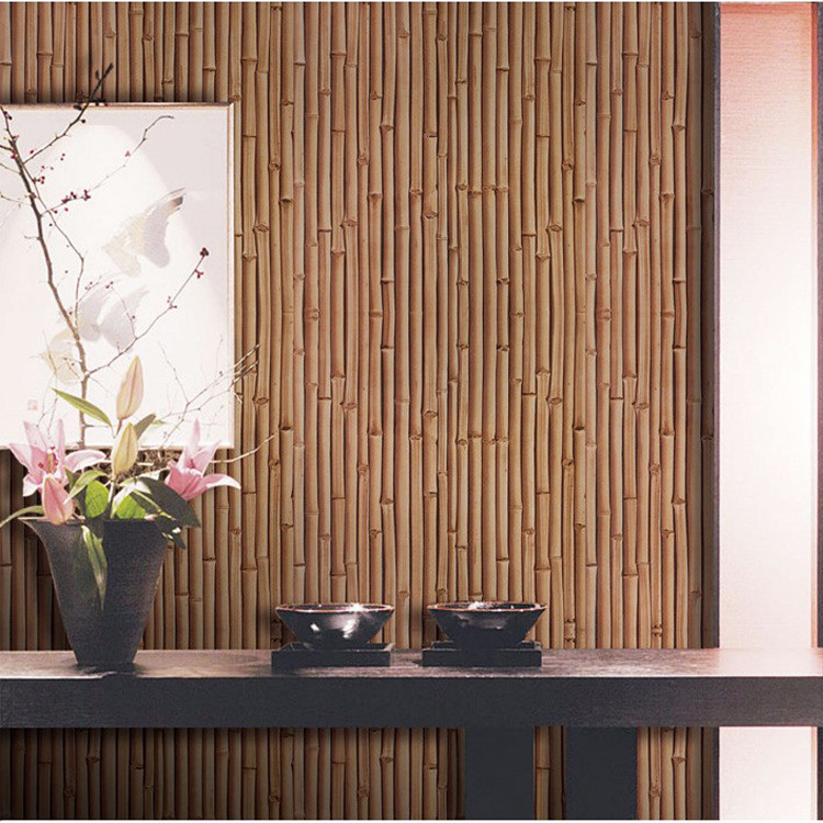 3D Bump Faux Bamboo Knitted Wallpaper Thick Waterproof PVC Hotel Engineering Background Bamboo Grain Bamboo Mat Wallpaper
