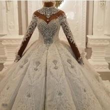 Luxury Dubai Crystal Rhinestone Wedding Dresses Lace Appliques Full Sleeves Puffy Ball Gowns 3D Flower Bridal Dress 2020