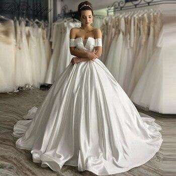 Lceland Poppy Glamorous A-line Satin Wedding Dresses 2020 Boat Neck Floor Length Vestido de Novia Bridal Gowns Chapel Train - discount item  35% OFF Wedding Dresses
