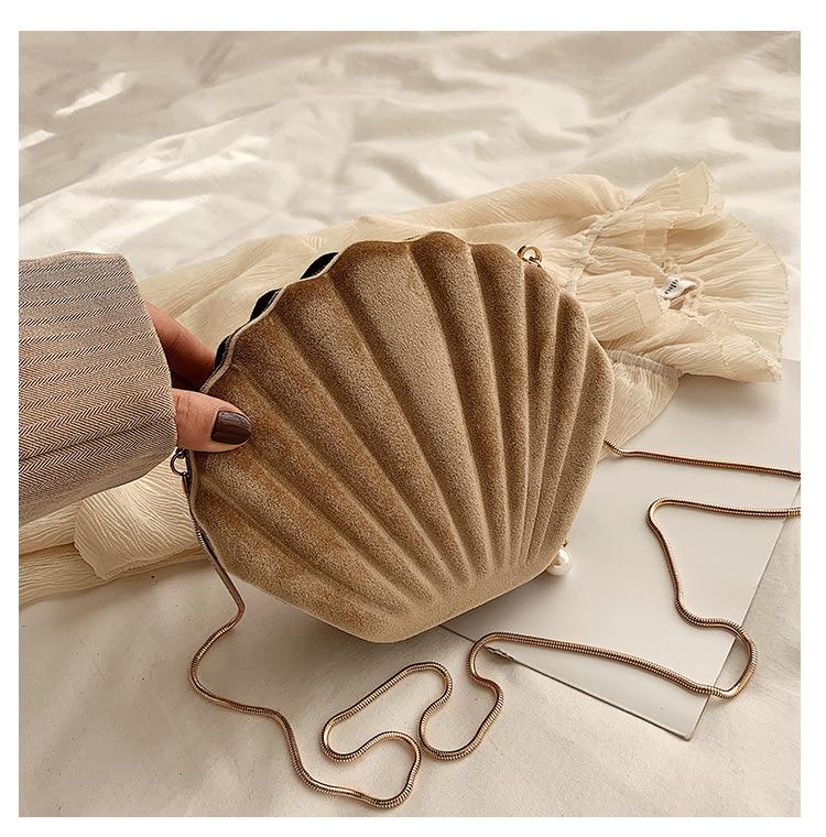 Women Chain Bag Shell Shape Shoulder Bag Winter Velour Crossbody Bag Women Fashion Handbag