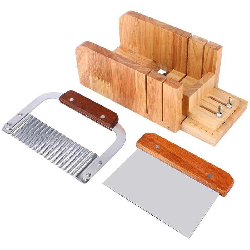 Soap Cutting Tool Set,Adjustable Wooden Soap Mold Handmade Loaf Mold Cutter Soap Making Supplies for Home Kitchen
