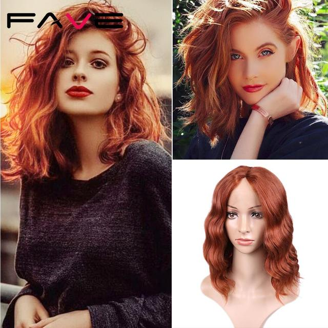 FAVE Lace Front 9*1.4 Natural Wave Synthetic Hair Wigs Orange Red Adjustable Size For Black White American Women 's Cosplay Wig