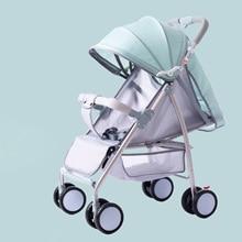Folding baby child four wheel shock absorbent stroller is lightweight