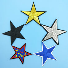 Big Stars Sticker DIY Embroidered Iron on Patch for Cap Pant Jacket Clothes Appliques Wholesale Black Gold Silver Blue Star(China)