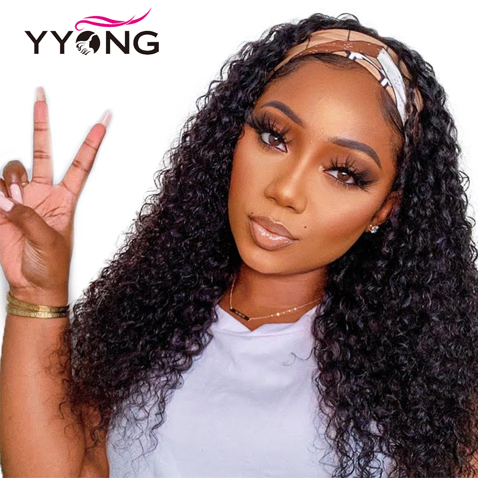 Yyong indiano onda profunda peruca com lenço natural perucas de cabelo humano glueless peruca para as mulheres pode ser colord 8-24in transporte rápido