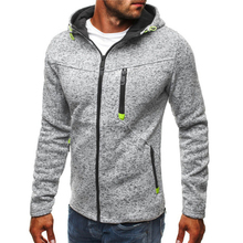 Classic Fashion Men Zipper Hoodies Jacket Autumn and Winter Cotton Hooded Sweatshirts Solid Color Sport