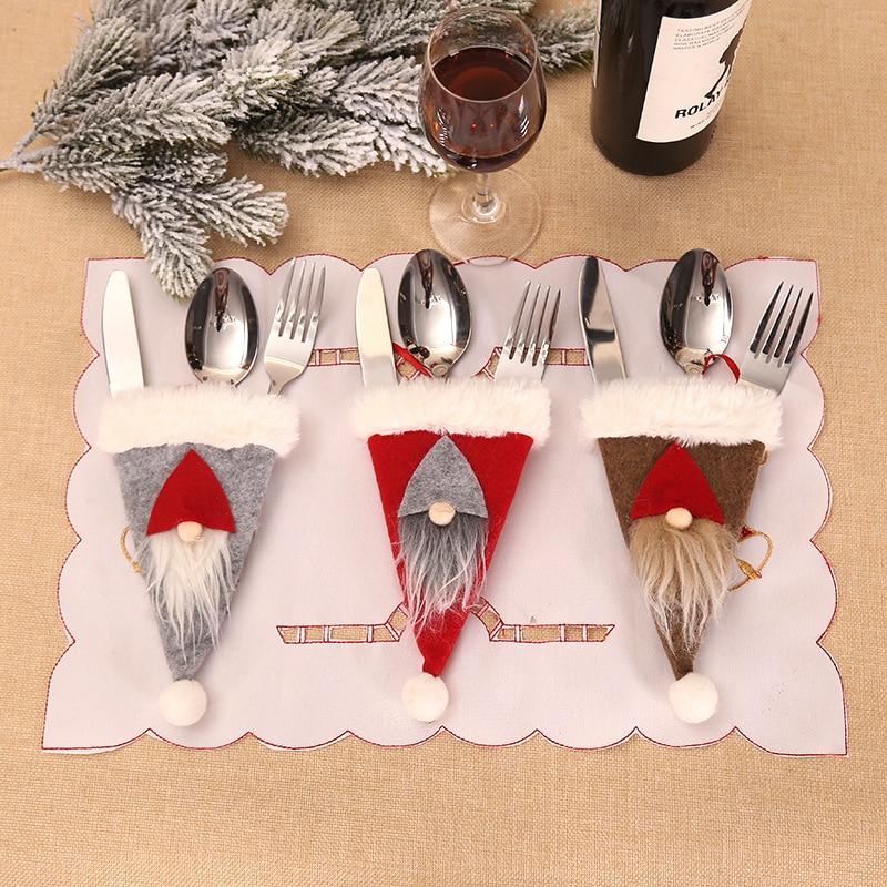 Santa Hat Reindeer Christmas New Year Pocket Fork Knife Cutlery Holder Bag Home Party Table Dinner Decoration Tableware 62419
