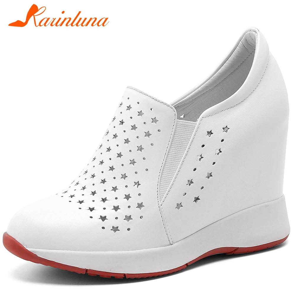 KARINLUNA New Ladies 2020 Genuine Leather Hig Heel Pumps Elegant Height Increasing Pumps Women Spring Breathable Shoes Woman