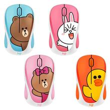 Logitech Cute Cartoon Pink Wireless Mouse USB Optical Computer Mini Mouse 2.4GHz Hamster Design Small Hand Mice For Girl Laptop