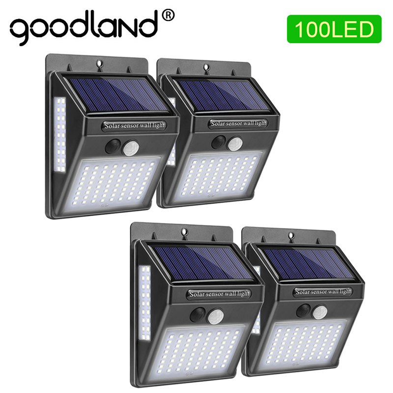 Goodland 100 LED Solar Light Outdoor Solar Lamp PIR Motion Sensor Solar Powered Sunlight Wall Street Light For Garden Decoration